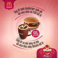 McDonald's tặng quà Hamburger/cà phê dịp Quốc tế Phụ nữ 8/3