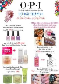 OPI Việt Nam ưu đãi tặng nhiều phần quà hấp dẫn trong tháng 3