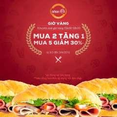 Bánh Mì Minh Nhật khuyến mãi giờ vàng ưu đãi giảm giá