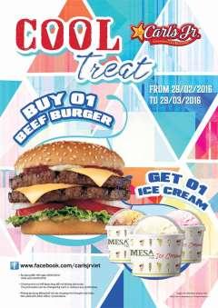 Carl's Jr khuyến mãi tặng kem mát lạnh khi mua Burger Bò