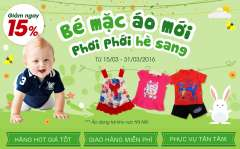 Giảm 15% thời trang hè cho bé tại Bibomart khu vực Hà Nội
