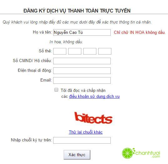 Đăng ký Vietinbank I-Pay trực tuyến