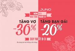 Juno- Ưu đãi đặc biệt 30%+ tặng voucher 100k cho khách hàng nữ!
