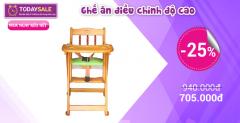 [Tuticare] Giá giờ vàng: Ghế ăn gỗ điều chỉnh độ cao Veesano giá chỉ 705k