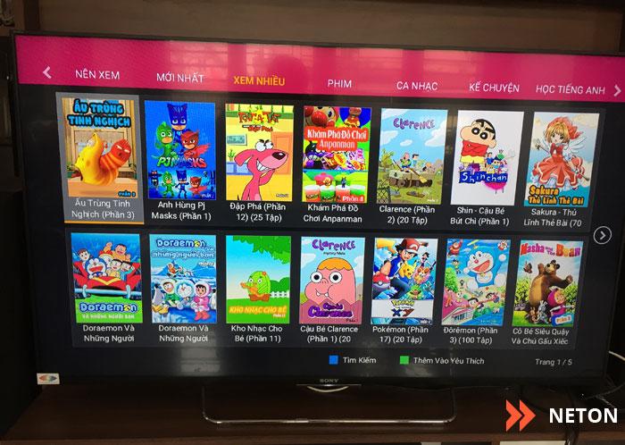 thư viện giải trí thiếu nhi trên FPT Playbox