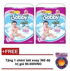 Tặng chén xoay 360 độ cho bé yêu khi mua Bộ 2 tã giấy Bobby siêu mỏng L68