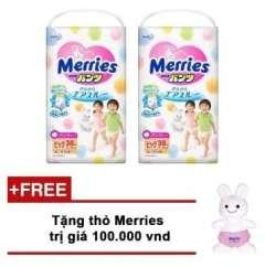 Mua Bộ 2 gói tã quần Merries XL38 Tặng thỏ Merries xinh xắn trị giá 100.000VND
