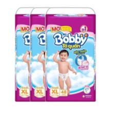 Bộ 3 gói tã quần Bobby XL48 giảm 26% giá chỉ 681.000đ ( miễn phí ship)