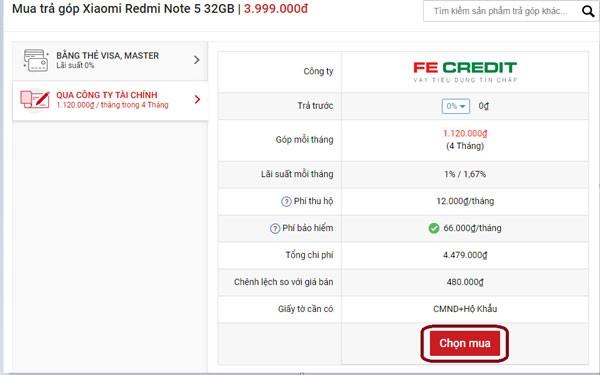 trả góp 0Đ Xiaomi Redmi Note 5