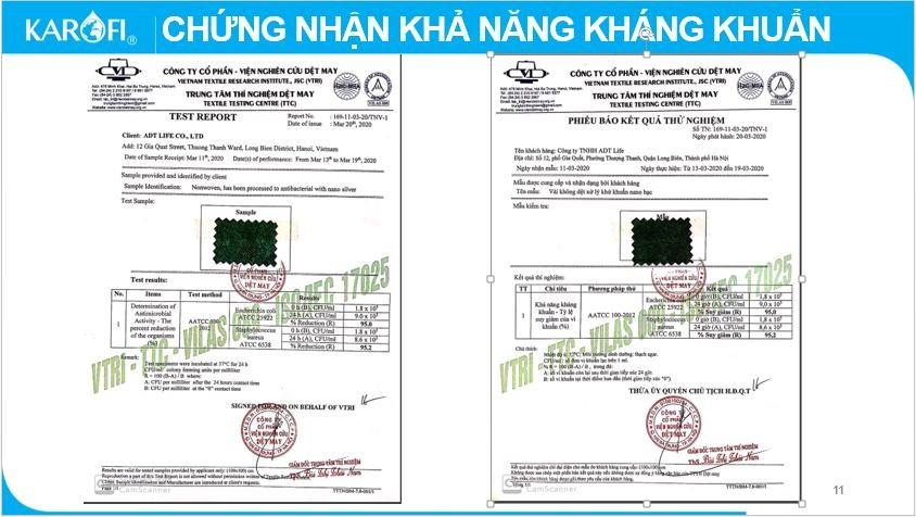 giấy chứng nhận khả năng kháng khuẩn