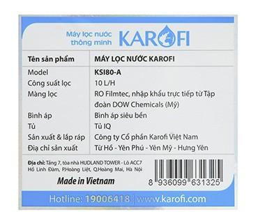 Máy Lọc Nước Karofi SRO Model KSI80