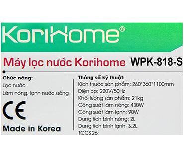 Máy Lọc Nước Nóng Lạnh Korihome WPK818S