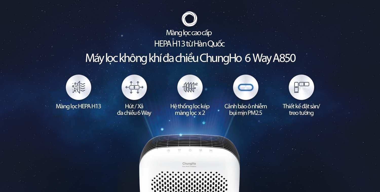 Máy lọc không khí ChungHo 6-Way A850 HEPA GAP-25H8550