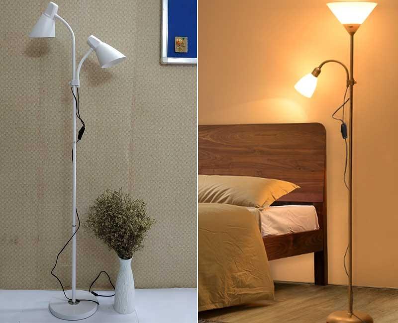 Đèn cây đứng 2 bóng - Đèn cây đứng phòng ngủ - Đèn cây trang trí phòng khách