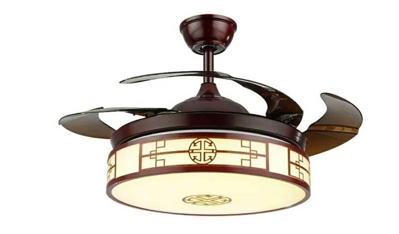 Mẫu quạt trần trang trí phòng khách gắn đèn - đèn quạt trần cánh cụp
