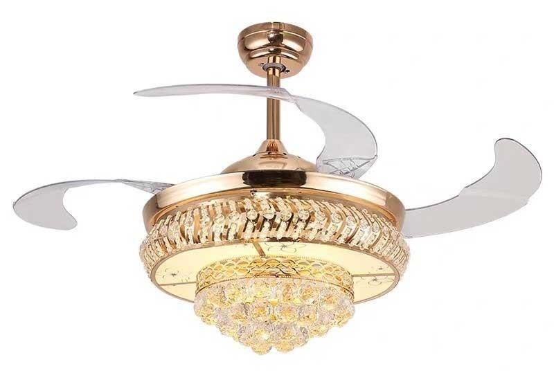 Quạt trần đèn chùm giá rẻ - Quạt trần kèm đèn chùm pha lê