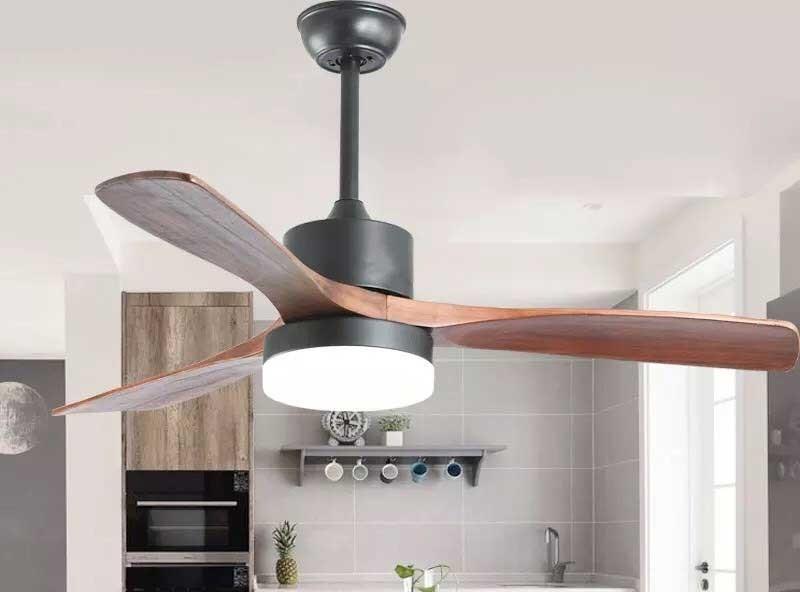 Quạt trần đèn trang trí phòng khách - Đèn quạt cánh gỗ