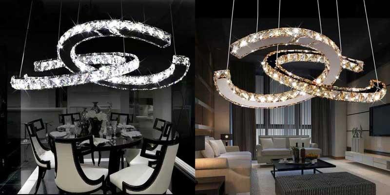 Đèn led thả phòng khách pha lê nhập khẩu - Đèn LED thả trần phòng kháchHTPL-34