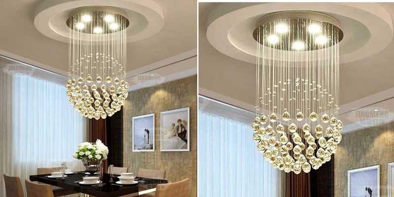 Đèn LED thả trần phòng khách hiện đại - Đèn thả phòng khách thông tầng pha lê TTPL-08