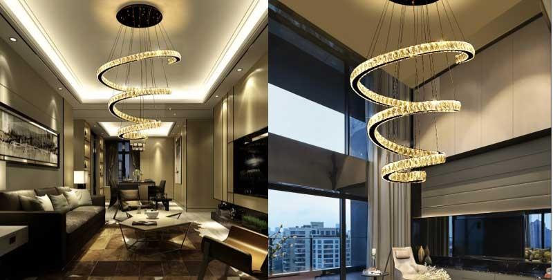 Đèn thả phòng khách cao cấp pha lê - Đèn LED thả trần phòng khách pha lê hiện đại HTPL-35
