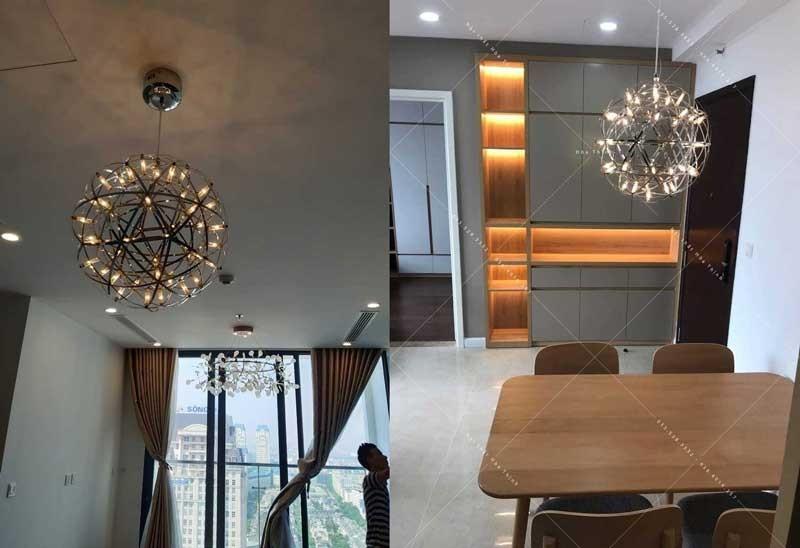 Đèn thả quán cafe bóng LED cầu nến D30 - Đèn thả trang trí quán cafe D30