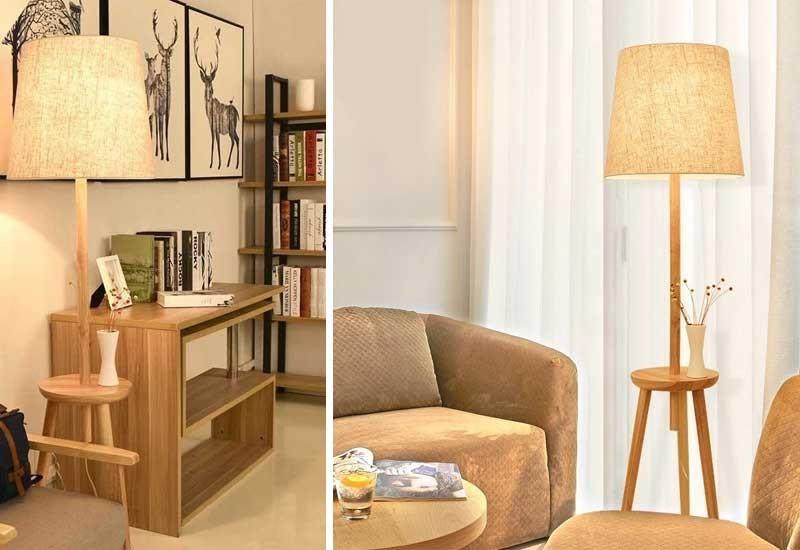 Đèn cây trang trí phòng ngủ,đèn cây gỗ, đèn cây trang trí góc sofa