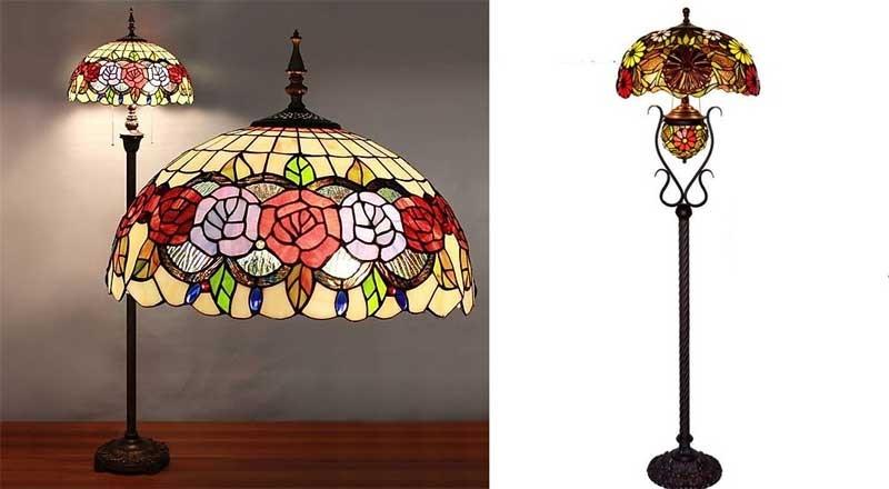 Đèn cây đọc sách Tiffany - Đèn cây đứng đọc sách Tiffany - Đèn cây phòng khách giá rẻ