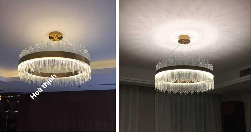 đèn chùm LED pha lê, đèn chùm pha lê cao cấp