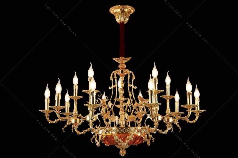 Đèn chùm pha lê nến đồng - Đèn chùm trang trí pha lê nến MD18013/5*3