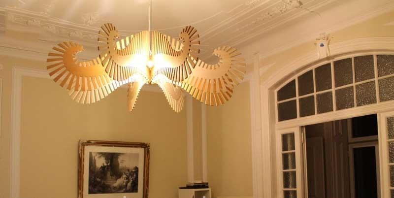 Đèn thả trần gỗ cho bé - Đèn trang trí trần gỗ phòng ngủ
