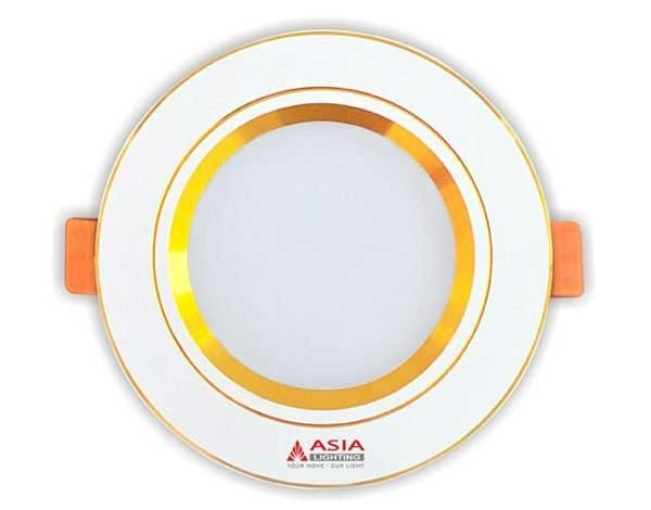 Đèn LED âm trần 3 màu 9w viền vàng Asia - Đèn LED âm trần 9w 3 màu viền vàngAsia