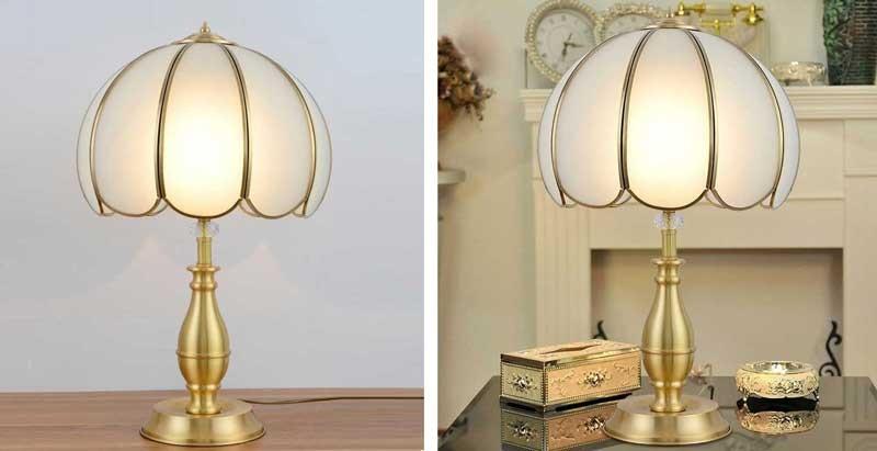 Đèn ngủ cắm ổ điện để bàn cao cấp bằng đồng - Đèn trang trí phòng ngủ cắm ổ điện bằng đồng