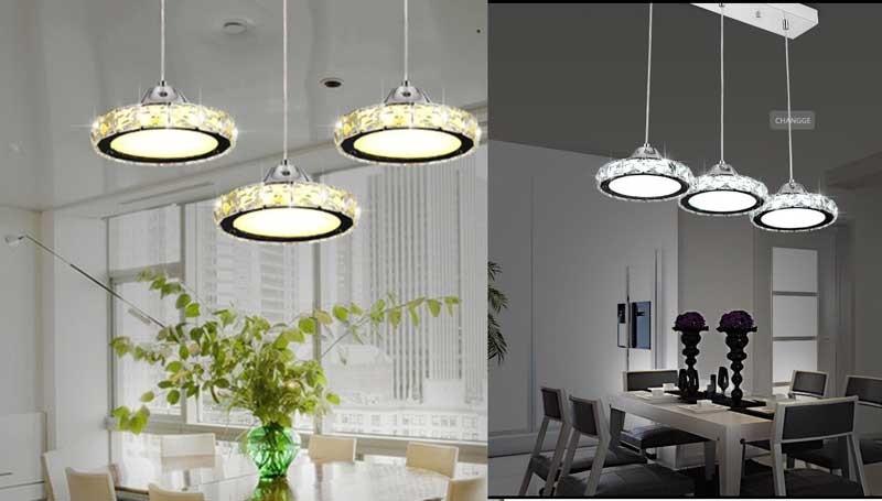Đèn trần phòng bếp cao cấp pha lê - Đèn thả phòng bếp 3 bóng hiện đại HTDT-02