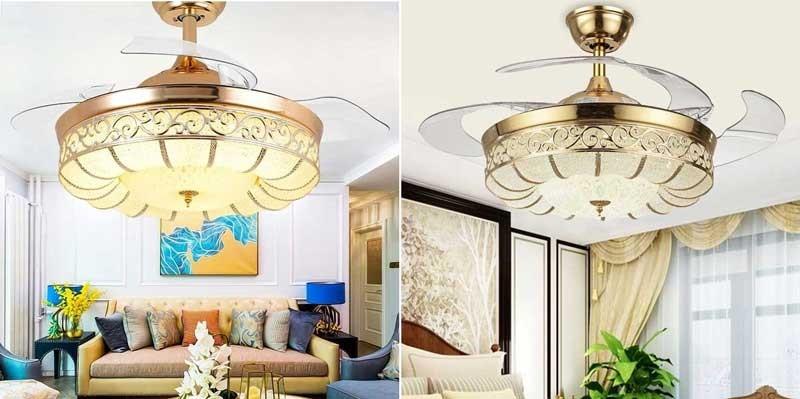 Quạt trần đèn cánh cụp cao cấp HT-6069 - Quạt trần cụp xòe giá rẻ HT-6069
