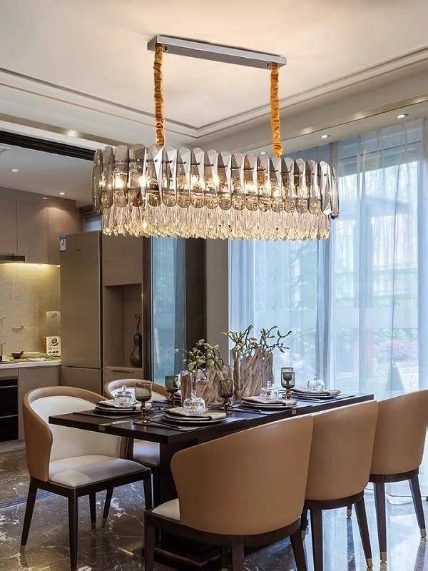 đèn thả bàn ăn pha lê hiện đại