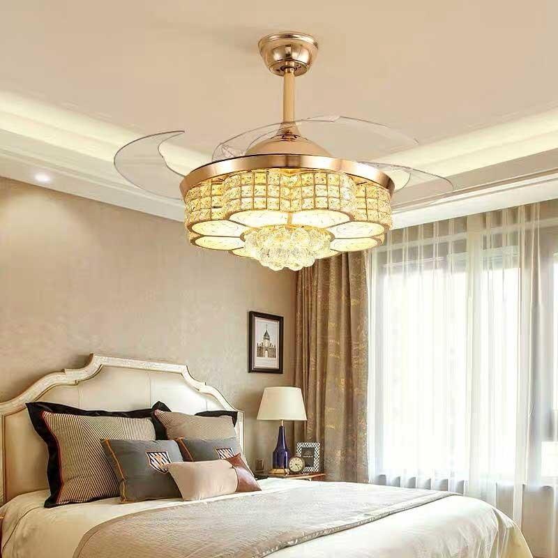 Quạt trần đèn cánh cụp HT- 6097 trang trí phòng khách chung cư nhỏ
