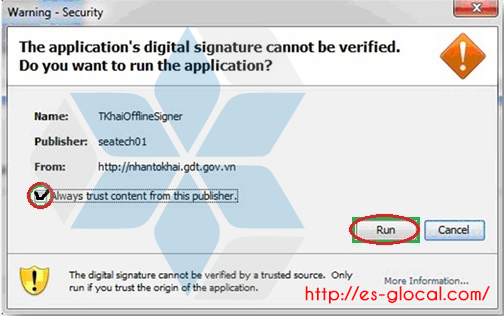 The application's digital signature cannot be verified. Do you want to run the application