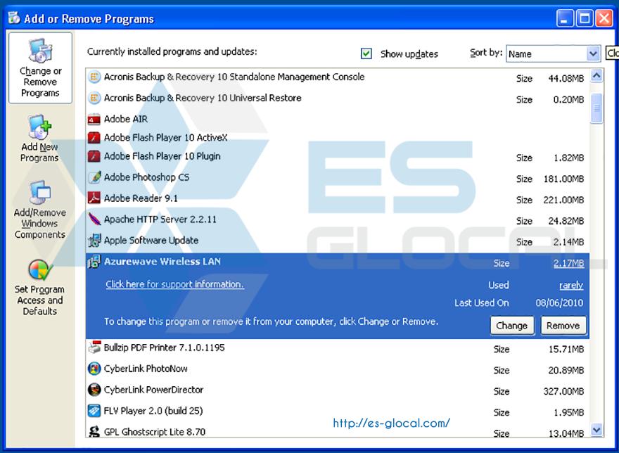 Remove/Change Phần mềm trong Windown XP