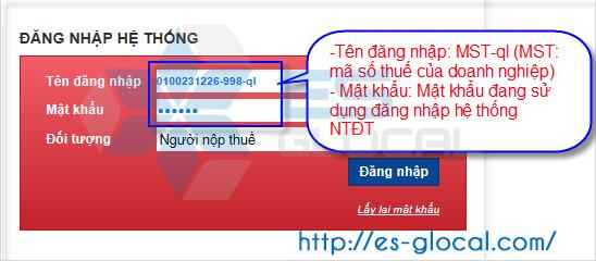 Gõ thông tin đăng nhập gồm MST và Mật khẩu