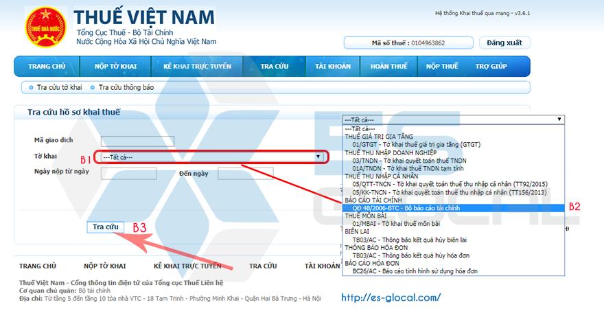 Chọn báo cáo tài chính khi nộp báo cáo Kiểm toán qua mạng