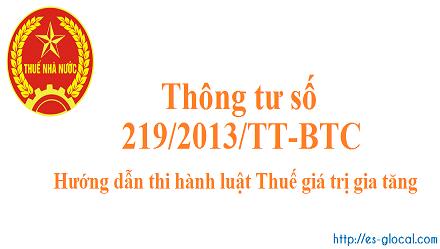 Thông tư 219/2013/TT-BTC ngày 31 tháng 12 năm 2013