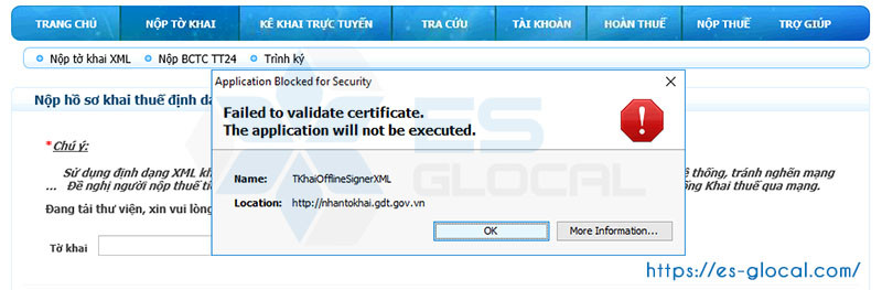 Cảnh báo lỗi Failed to validate certificate