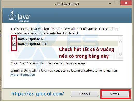 Chọn Java để hoàn thành bước sửa lỗi kê khai thuế qua mạng