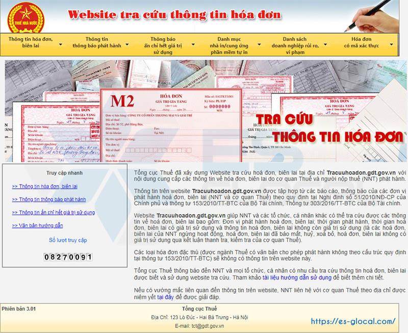Cổng tra cứu hóa đơn điện tử của TCT