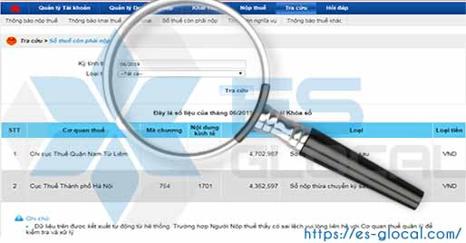 Tra cứu số tiền thuế nộp thừa, nộp thiếu và nghĩa vụ thuế của doanh nghiệp