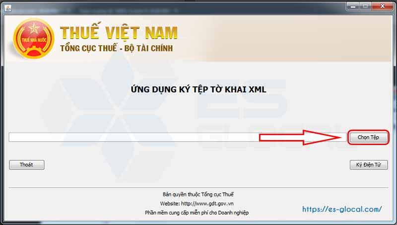 Chọn tệp ký offine xml