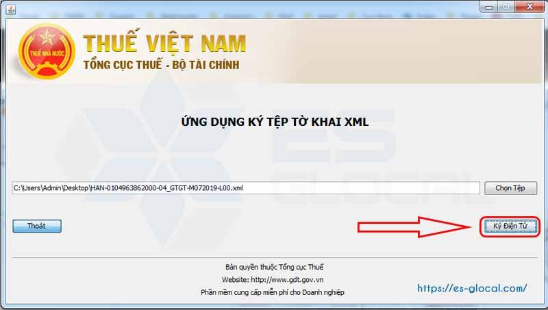 Ký điện tử tờ khai thuế xml