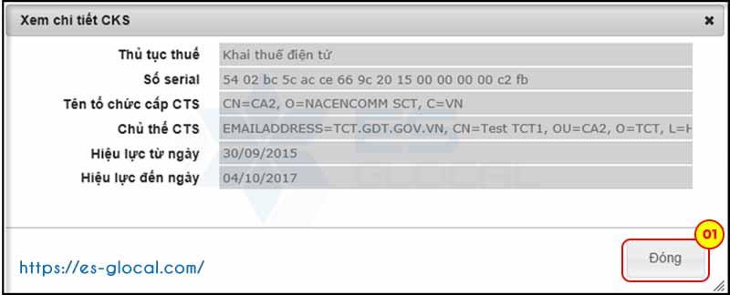 Xem chi tiết thông tin chữ ký số