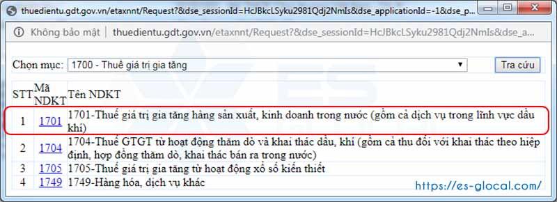 Chọn mã NDKT để nộp thuế