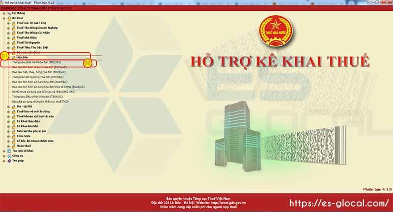 Đăng nhập phân hệ thông báo phát hành hóa đơn